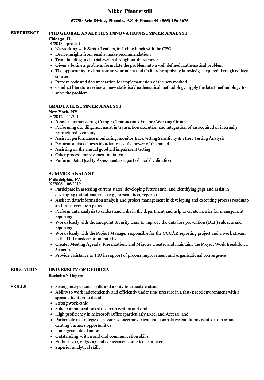 summer analyst resume samples