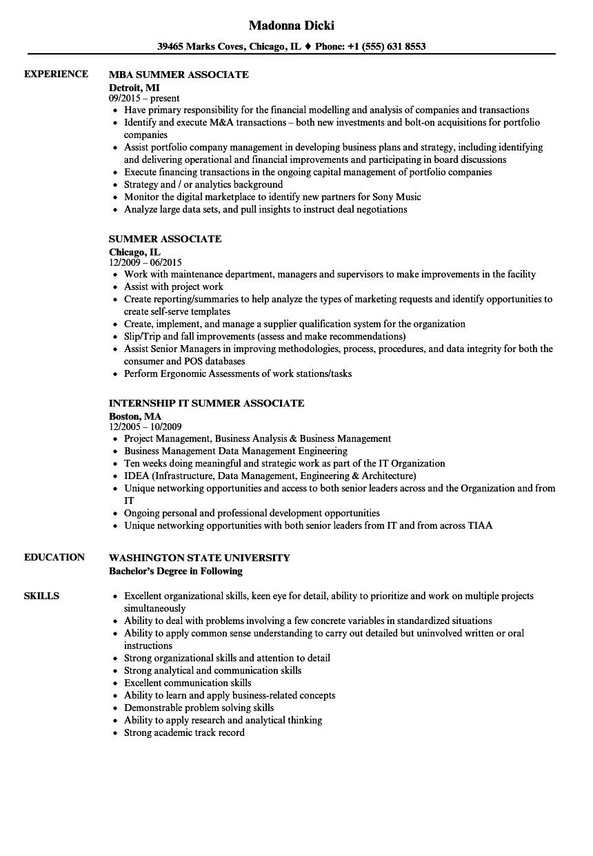 Summer Associate Resume Samples | Velvet Jobs