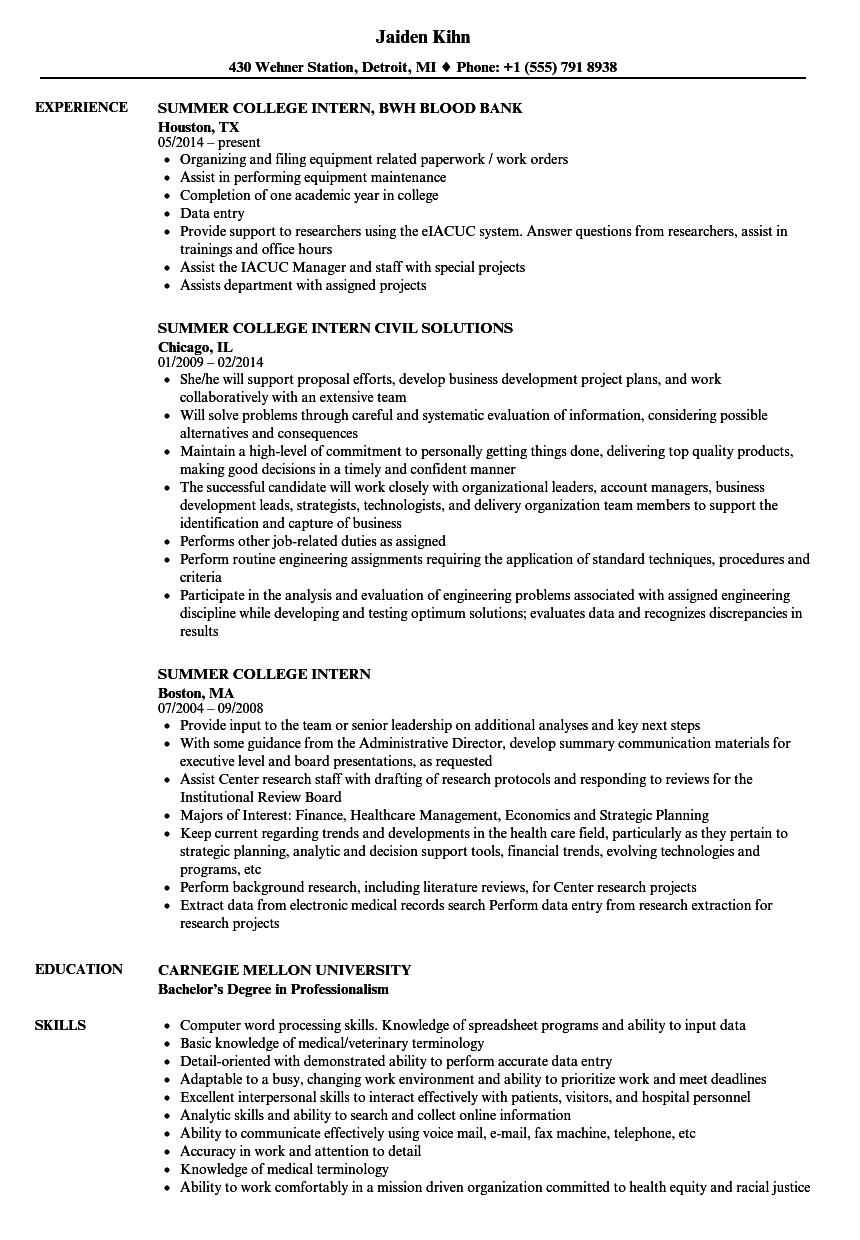 summer college intern resume samples