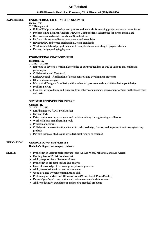 Summer Engineering Resume Samples | Velvet Jobs