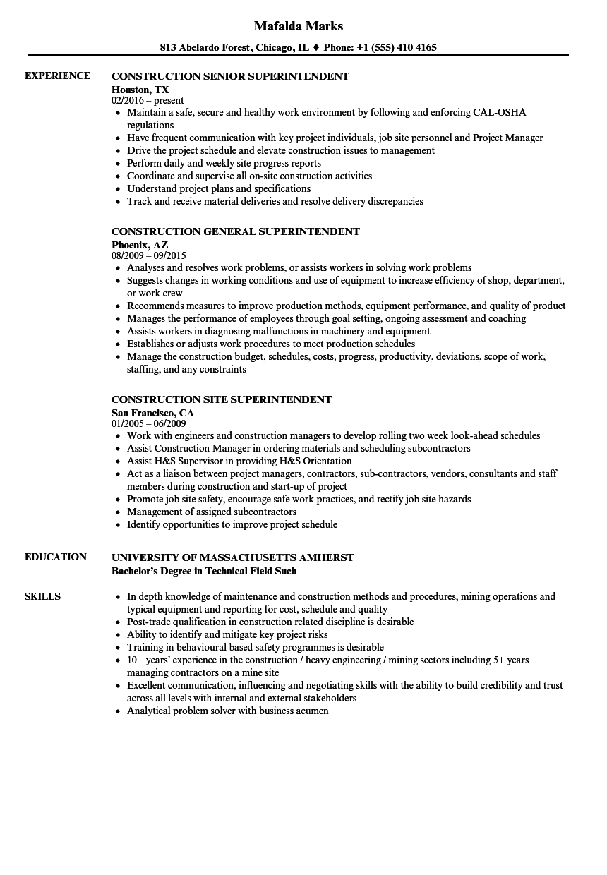 superintendent construction resume samples