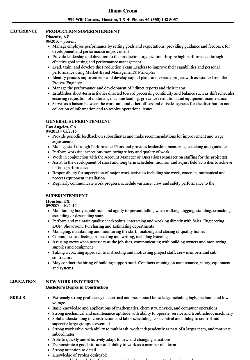superintendent resume samples