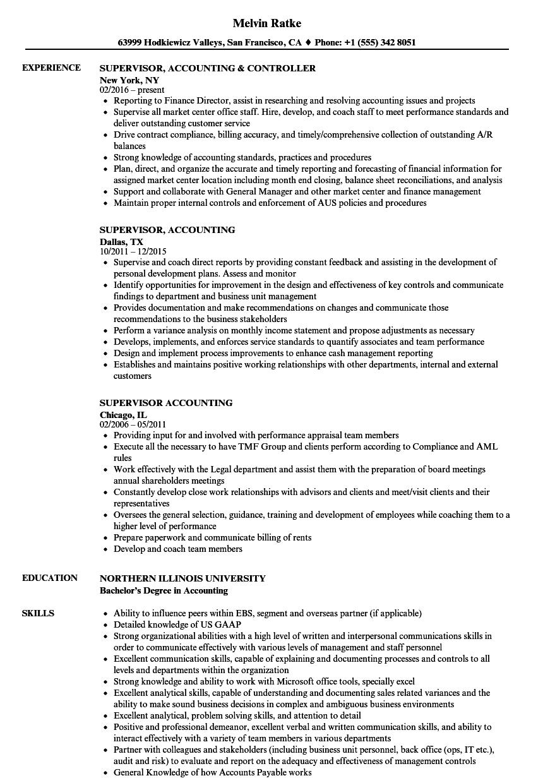 Supervisor, Accounting Resume Samples | Velvet Jobs