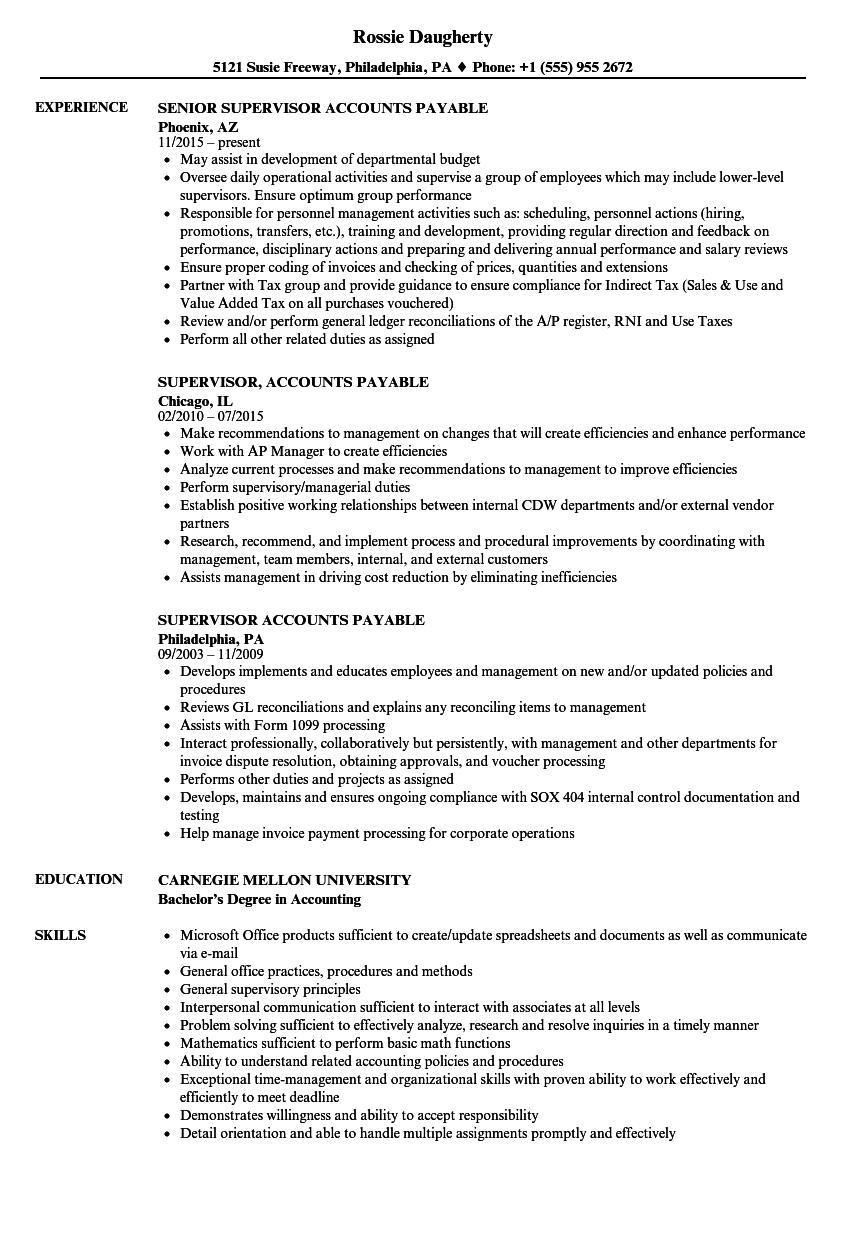 Supervisor, Accounts Payable Resume Samples | Velvet Jobs