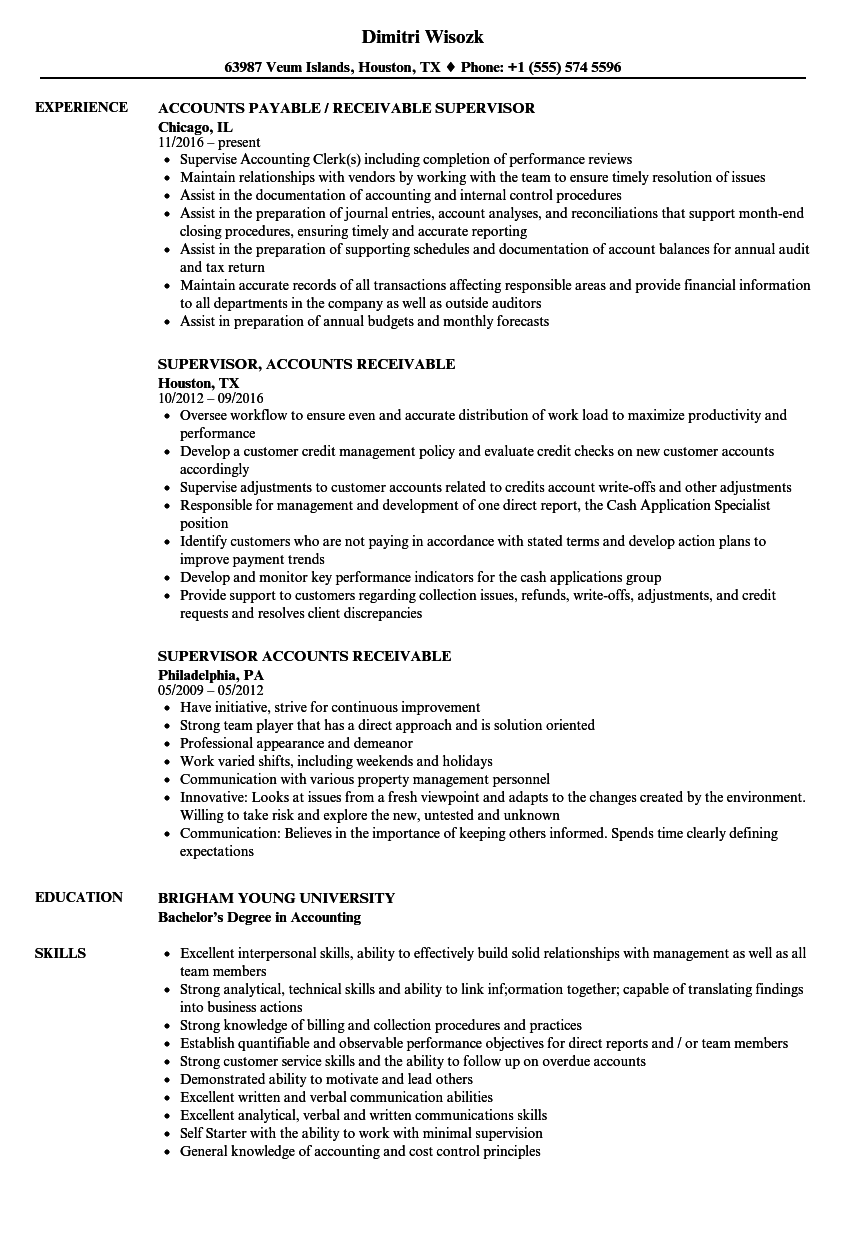 High Quality Download Supervisor, Accounts Receivable Resume Sample As Image File