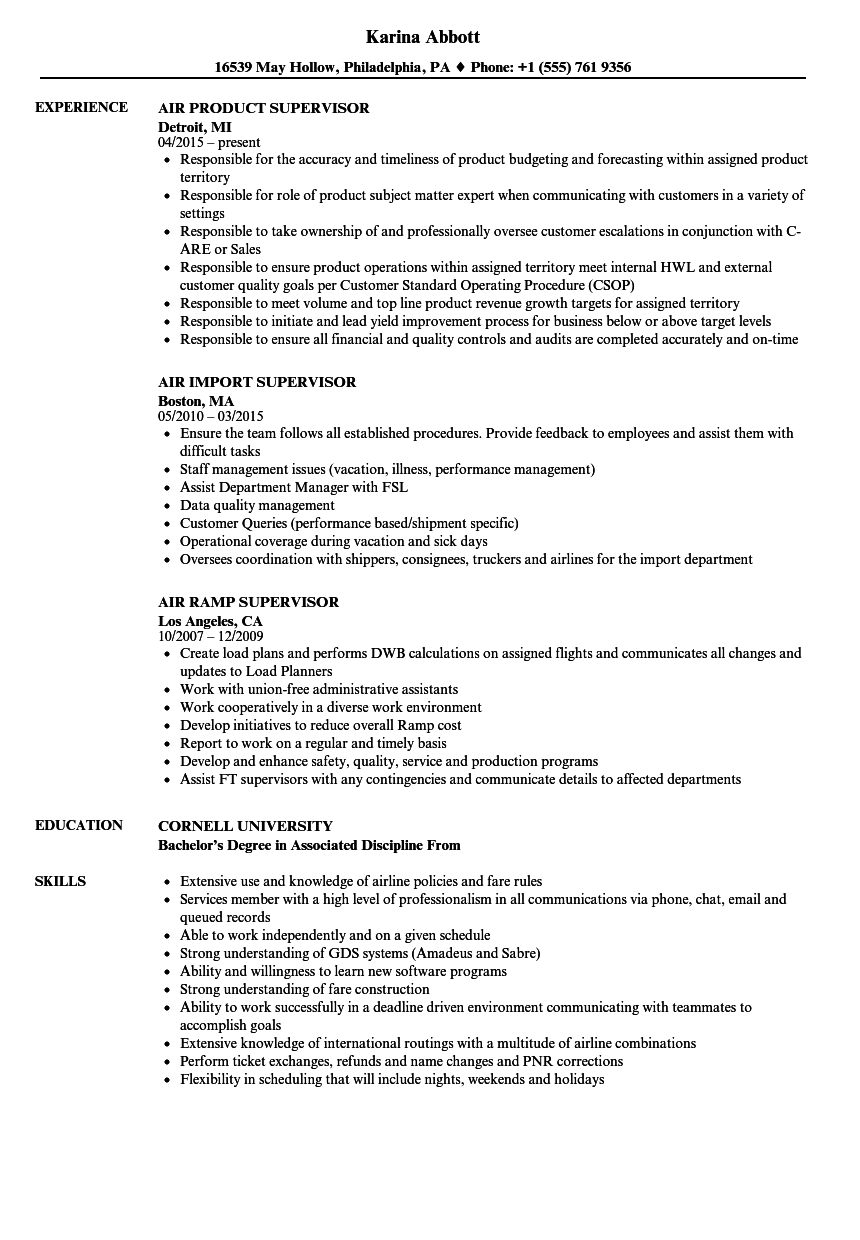 Supervisor, Air Resume Samples | Velvet Jobs