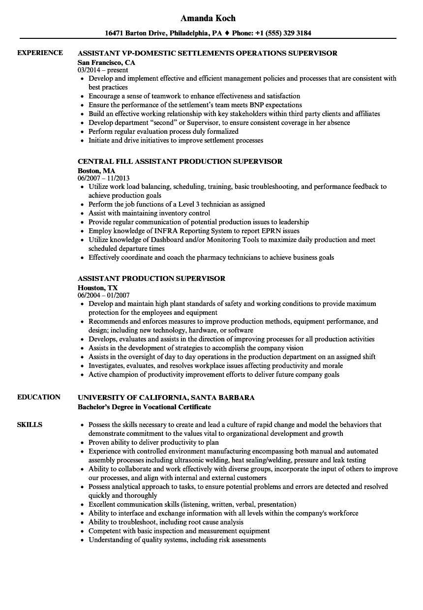 Download Supervisor Assistant Resume Sample As Image File