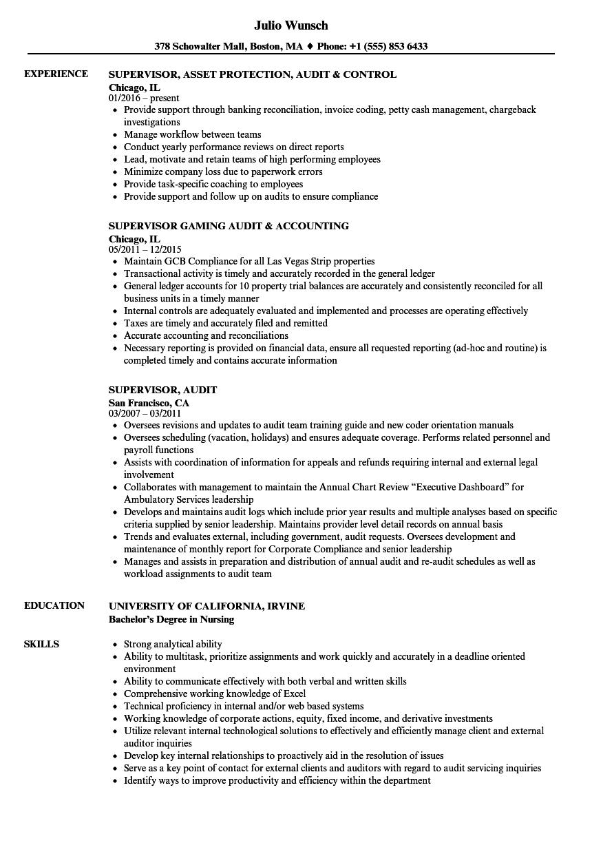 Supervisor Audit Resume Samples Velvet Jobs