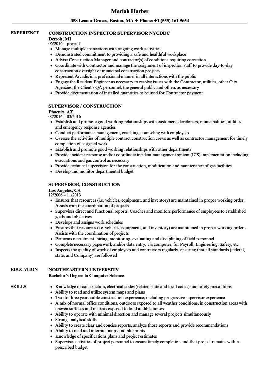 Supervisor, Construction Resume Samples   Velvet Jobs