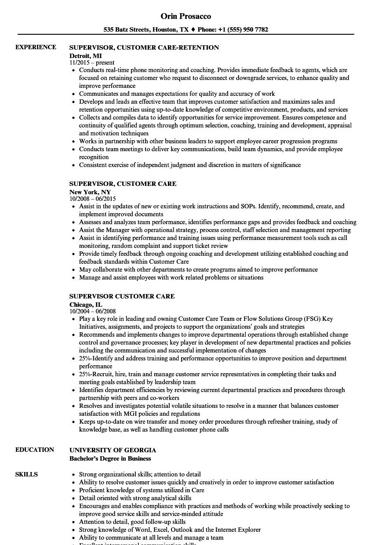 Download Supervisor, Customer Care Resume Sample As Image File  Customer Care Resume