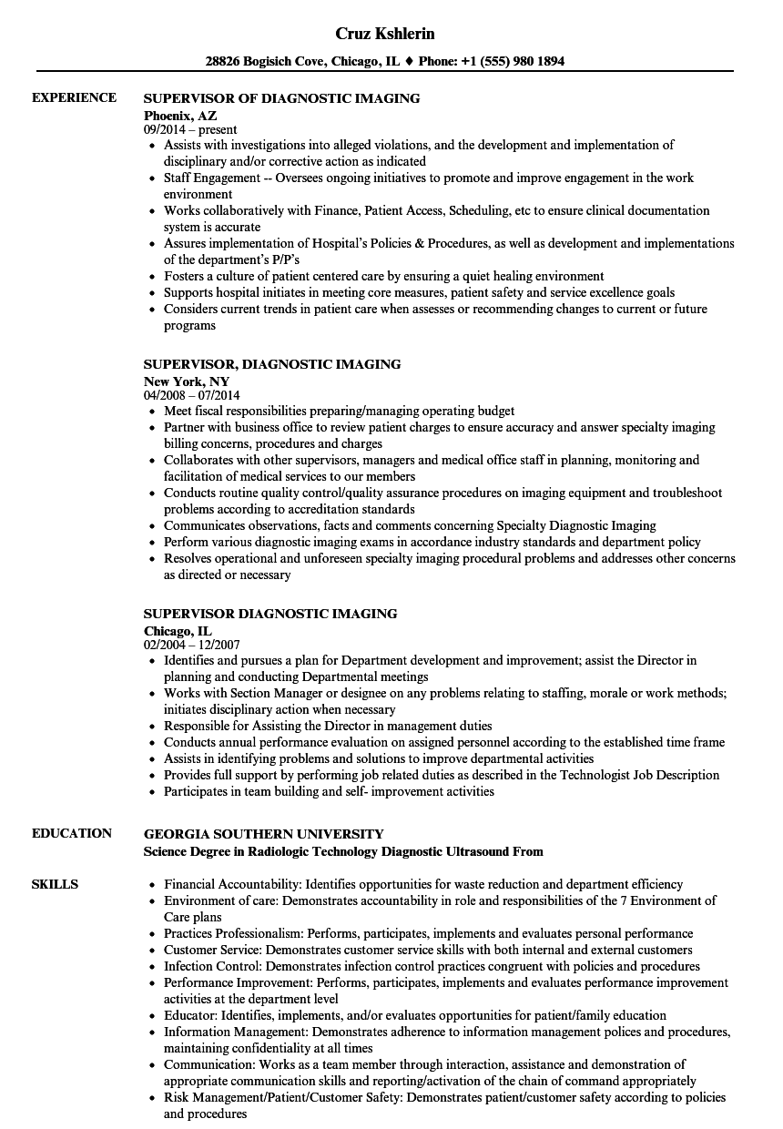 Download Supervisor Diagnostic Imaging Resume Sample As Image File