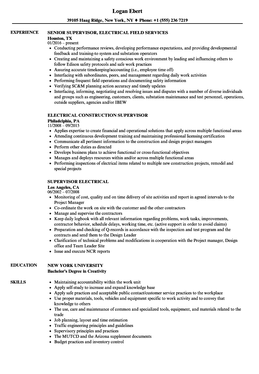 Supervisor Electrical Resume Samples | Velvet Jobs