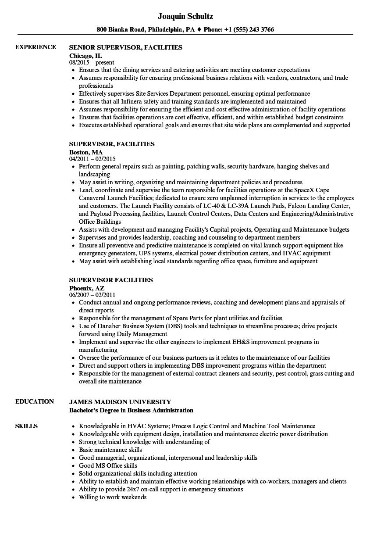 Supervisor Facilities Resume Samples Velvet Jobs