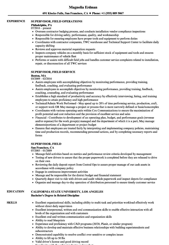 supervisor  field resume samples