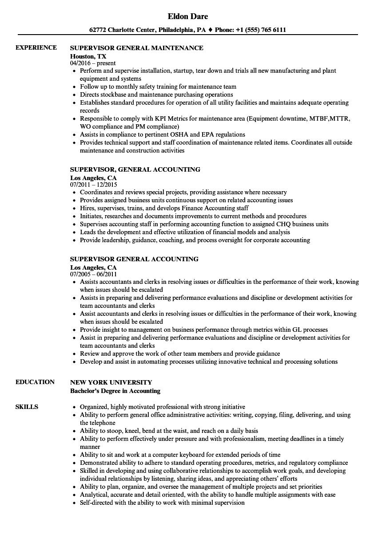 supervisor general resume samples