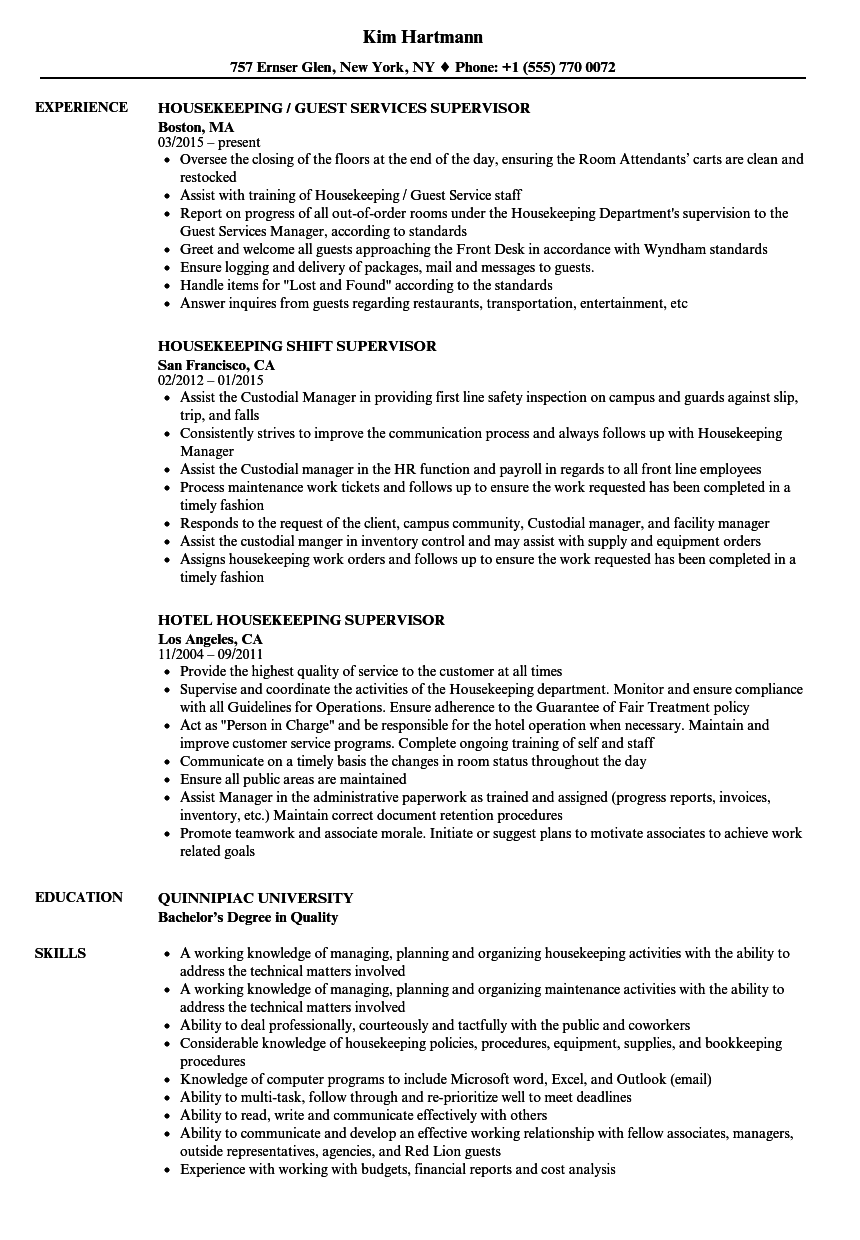 Supervisor Housekeeping Resume Samples | Velvet Jobs