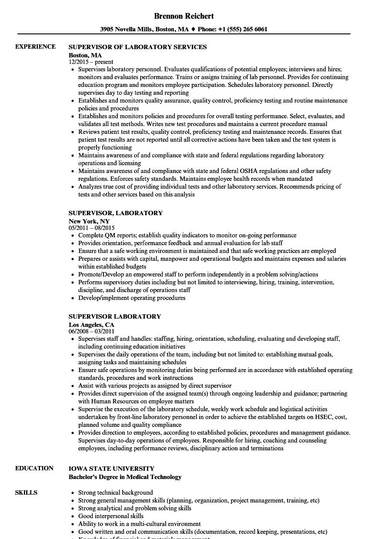 supervisor laboratory  laboratory resume samples