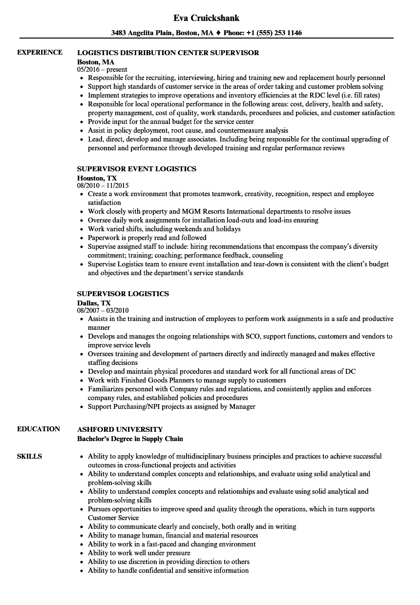 supervisor logistics resume samples