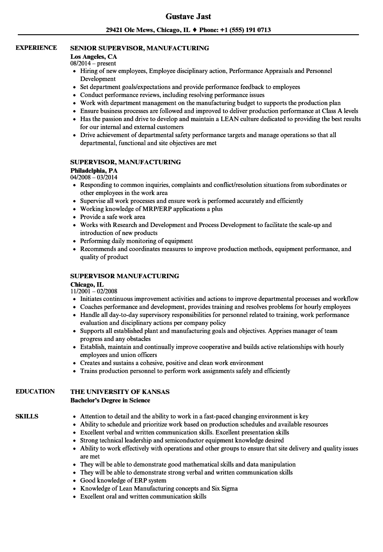 supervisor  manufacturing resume samples