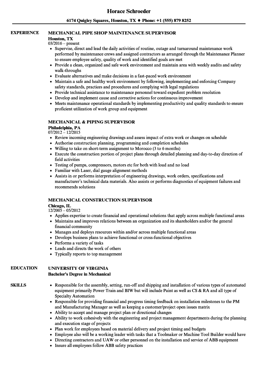 Supervisor Mechanical Resume Samples Velvet Jobs
