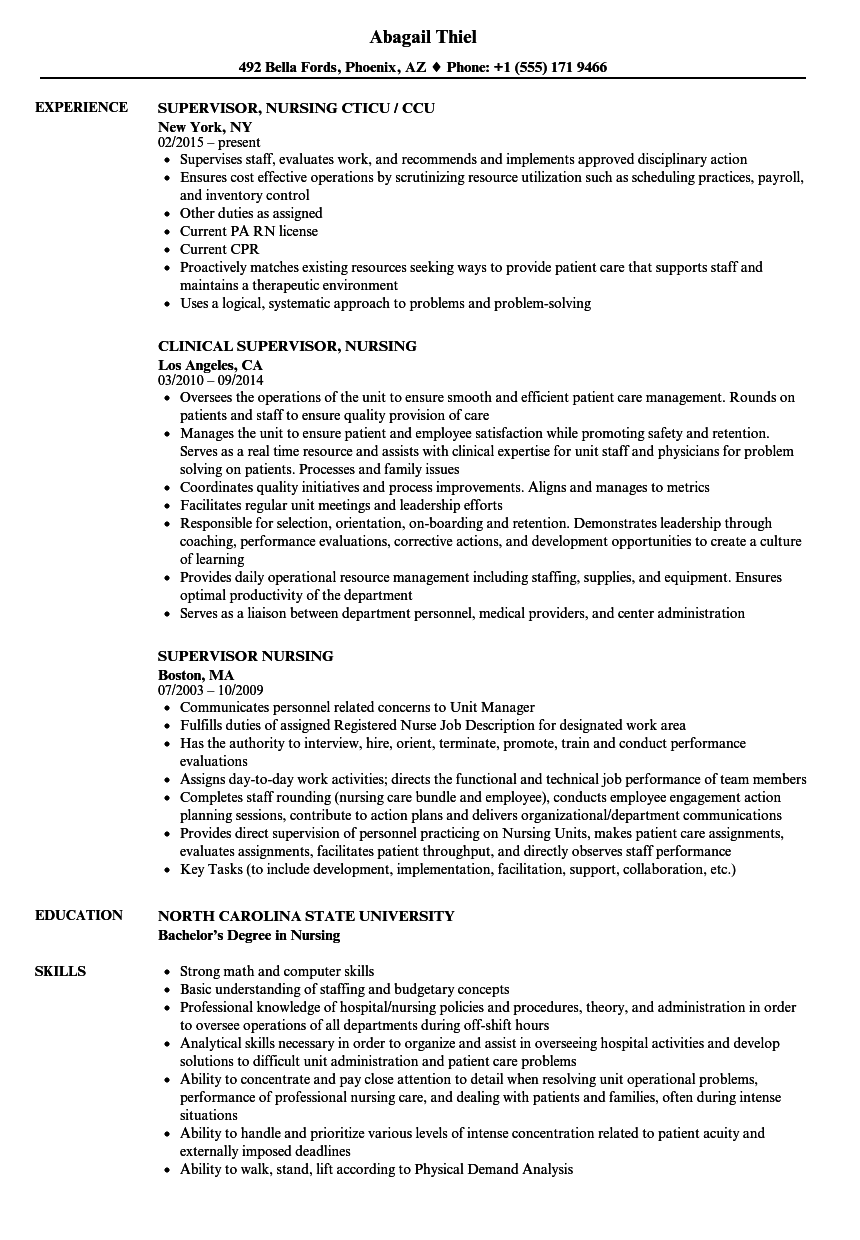 Supervisor Nursing Resume Samples | Velvet Jobs