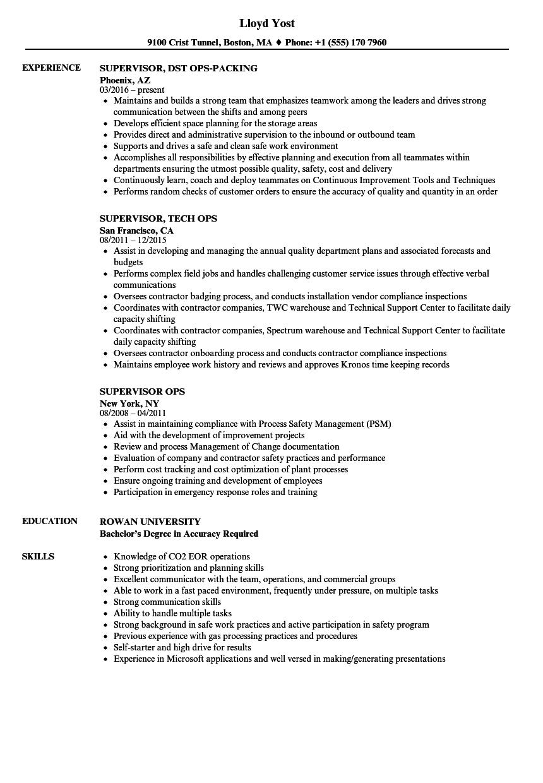 Supervisor Ops Resume Samples | Velvet Jobs