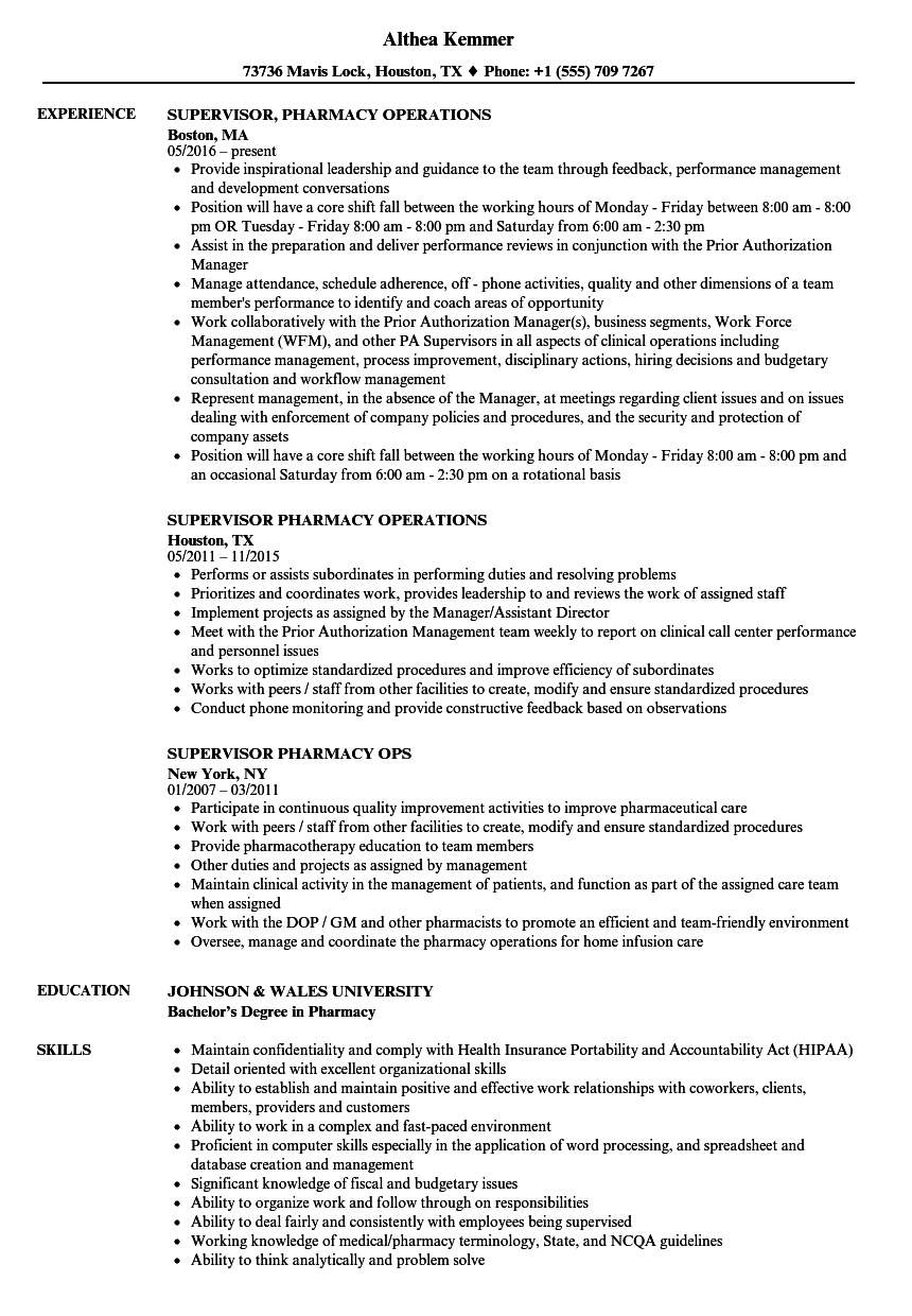 supervisor pharmacy resume samples