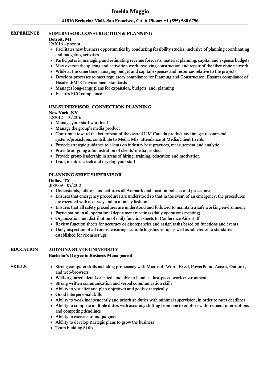download supervisor planning resume sample as image file