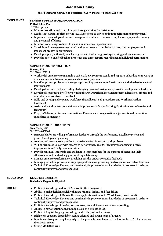 supervisor production resume samples