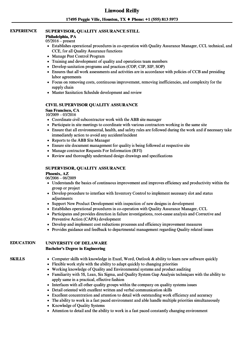 Supervisor, Quality Assurance Resume Samples | Velvet Jobs