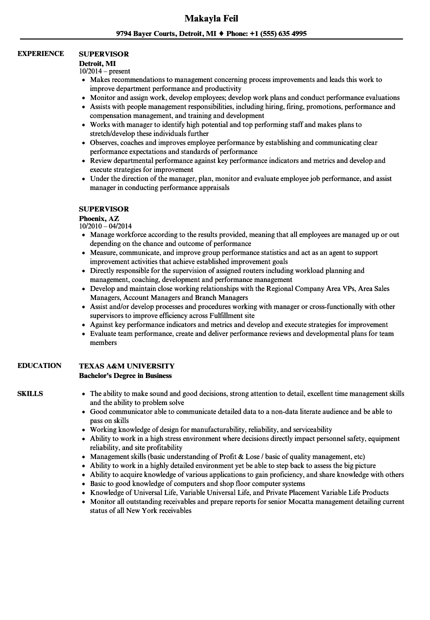 resume samples for supervisor positions - supervisor resume samples velvet jobs