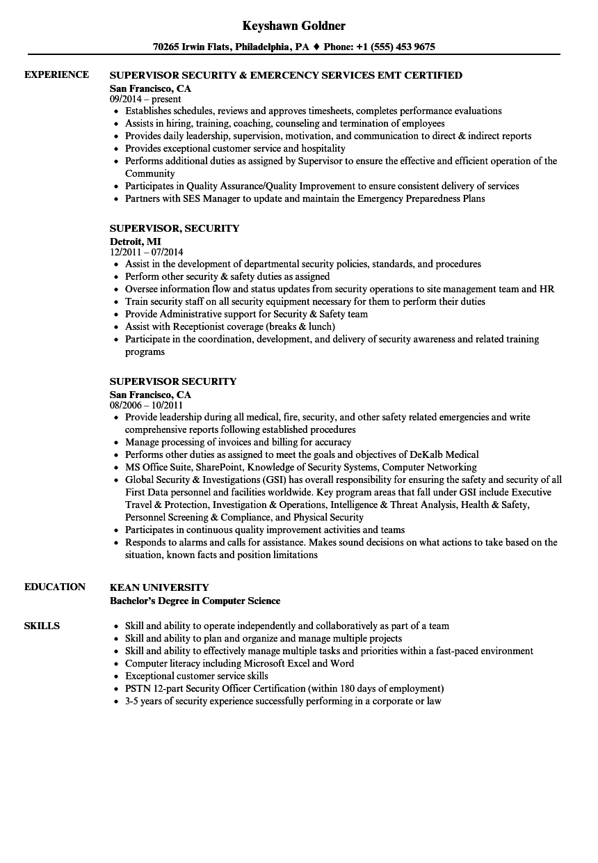 supervisor security resume samples