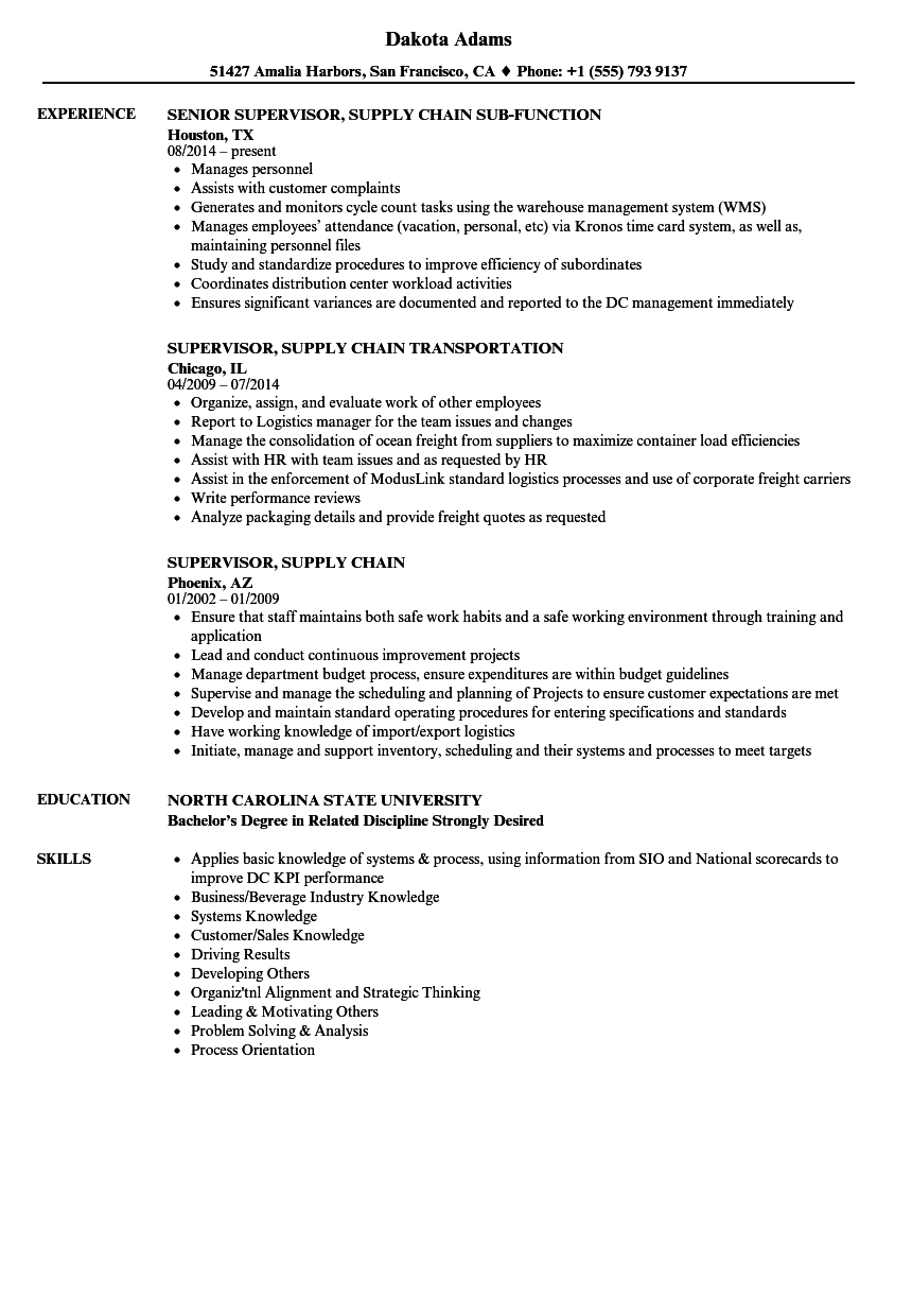 supervisor  supply chain resume samples