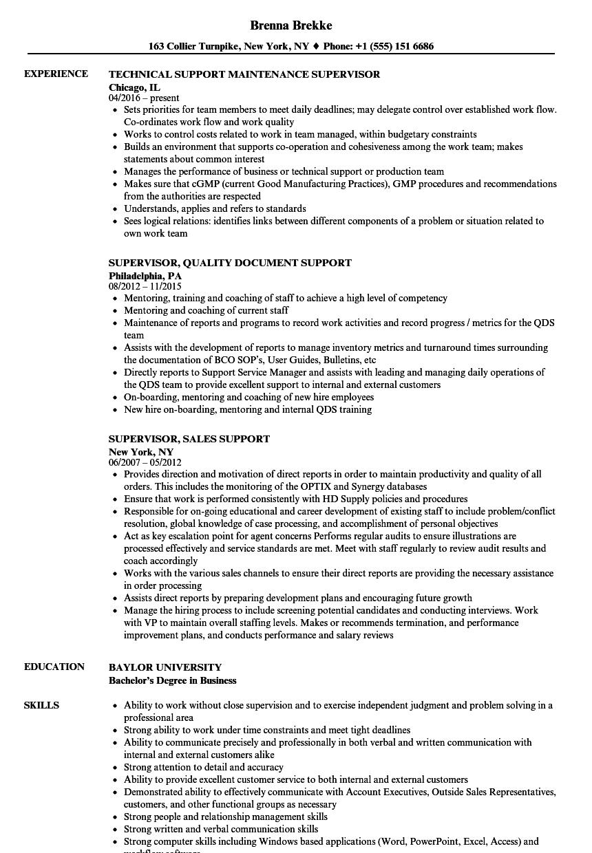 Supervisor Support Resume Samples   Velvet Jobs