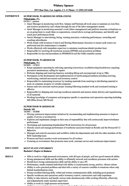 supervisor  warehouse resume samples