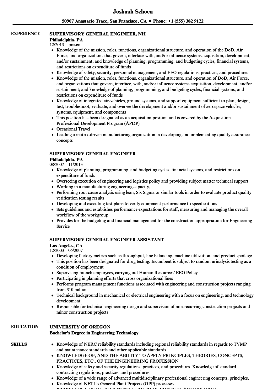 supervisory general engineer resume samples velvet jobs