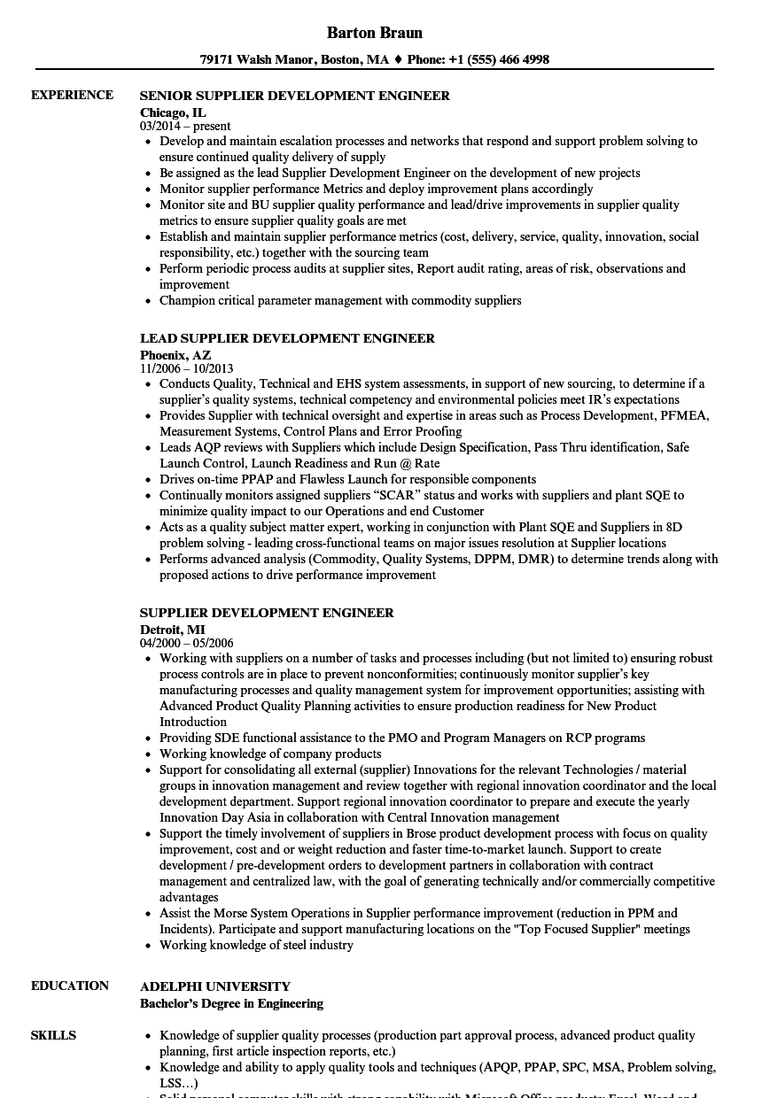 Supplier Development Engineer Resume Samples | Velvet Jobs
