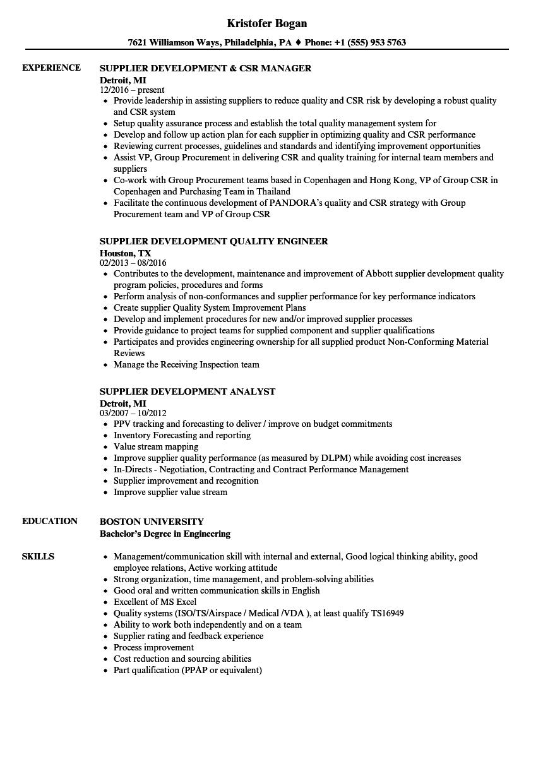 supplier development resume samples velvet jobs