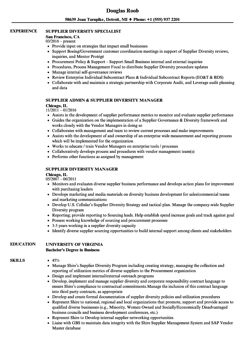 supplier diversity resume samples