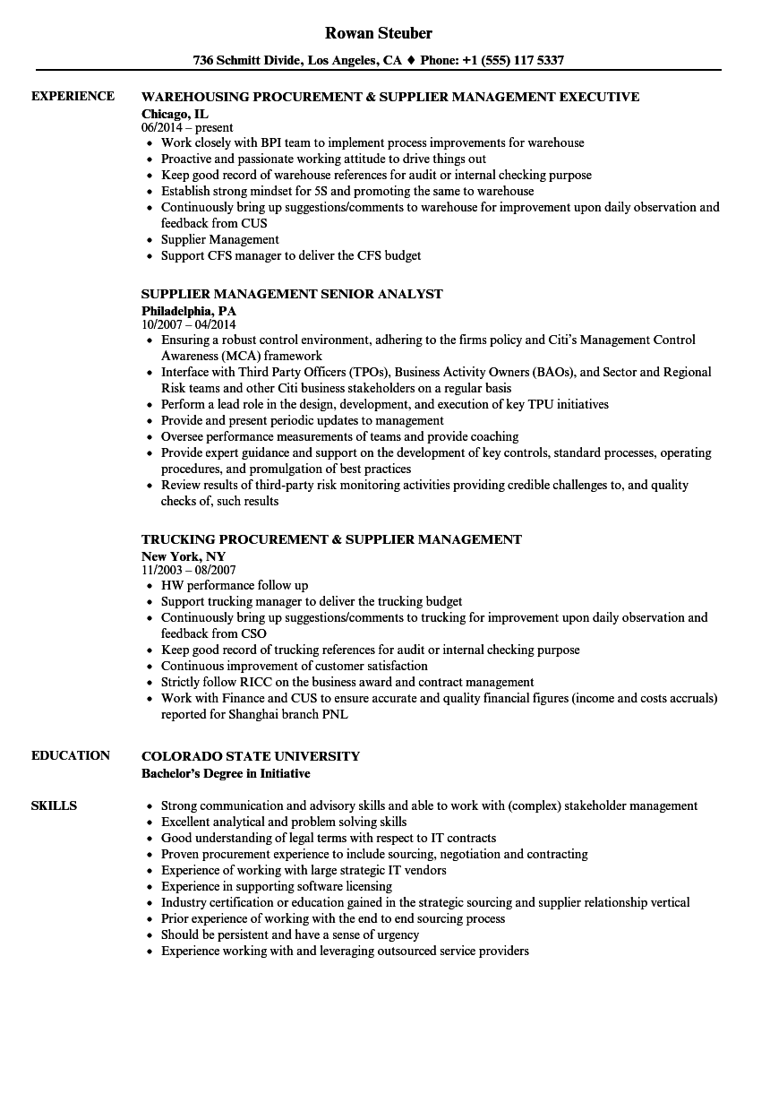 supplier management resume samples