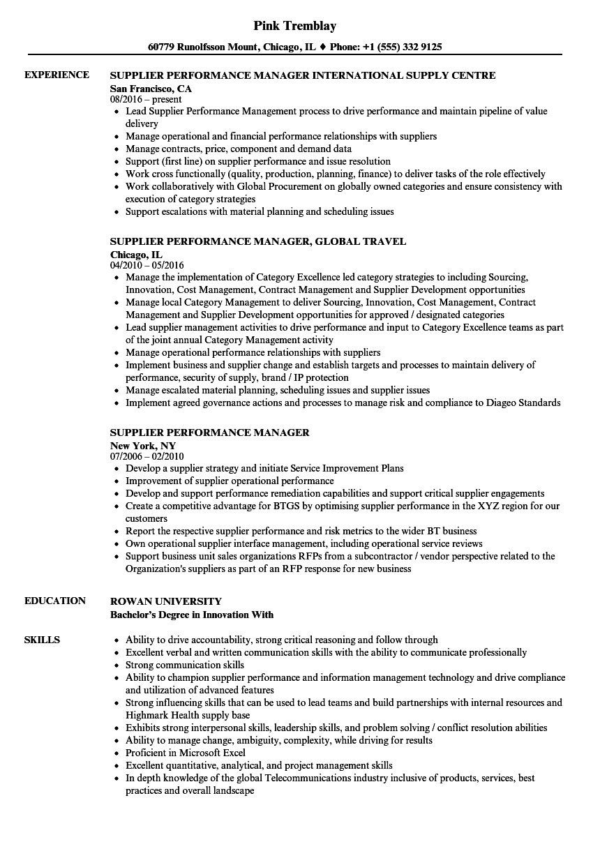 supplier performance manager resume samples