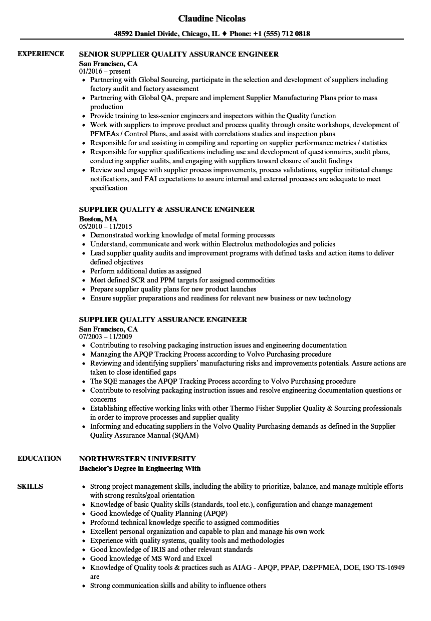 Supplier Quality Assurance Engineer Resume Samples