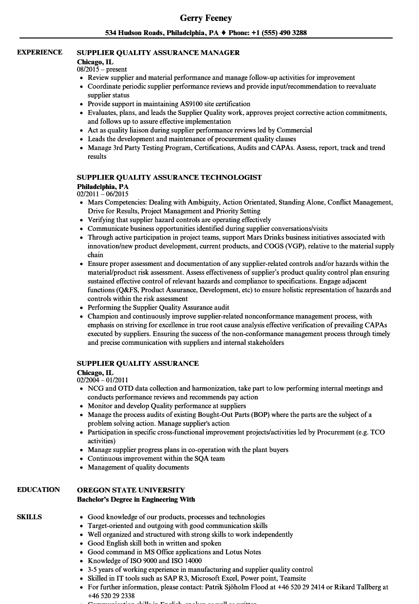supplier quality assurance resume samples