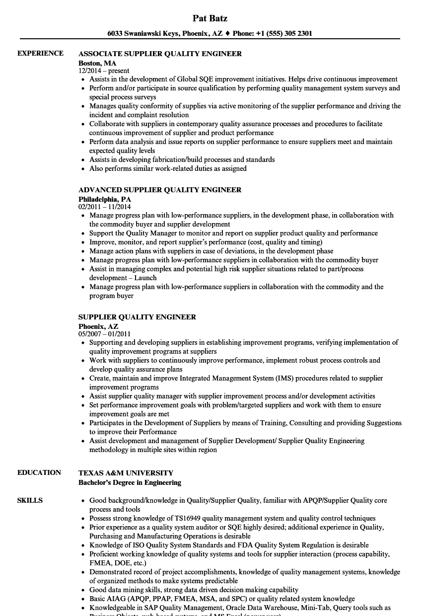 Supplier Quality Engineer Resume Samples Velvet Jobs