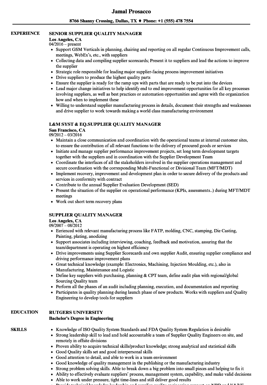 supplier quality manager resume samples