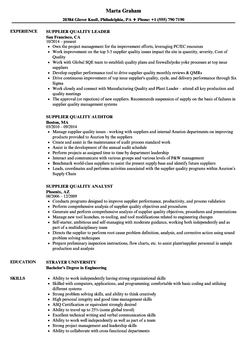 Supplier Quality Resume Samples Velvet Jobs