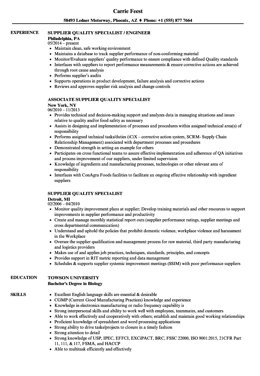 Supplier Quality Specialist Resume Samples Velvet Jobs