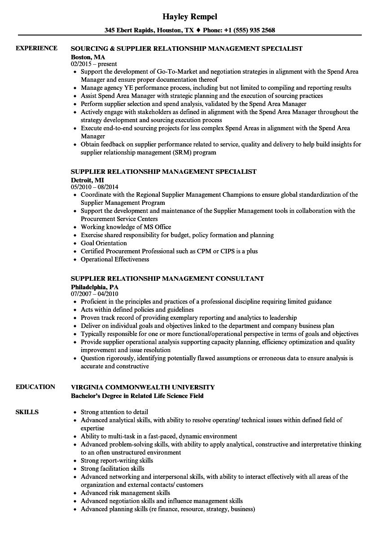 Supplier Relationship Management Resume Samples Velvet Jobs