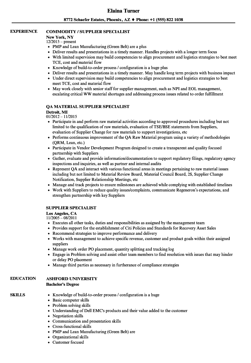 supplier specialist resume samples