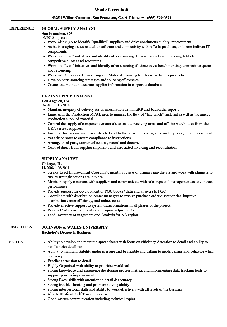 supply analyst resume samples